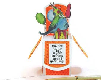 Birthday Pop Up Card, 3D Pop Up Cards, Card for Him, Boyfriend, Party Bird, Balloons, Party Hat, Gift Card Holder Happy Birthday Card Unisex