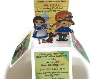 Wizard of Oz Birthday Invitation, Birthday Party Invitations, Pop Up Invitations, Dorothy, Scarecrow, Tin Man, Cowardly Lion, Bibliophile