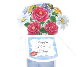 Mothers Day Card, Home is Where Mom is, Pop Up Cards Mothers Day, Birthday Card For Mom, Gift Card Holder, Best Mom Ever 3D Handmade Ladybug