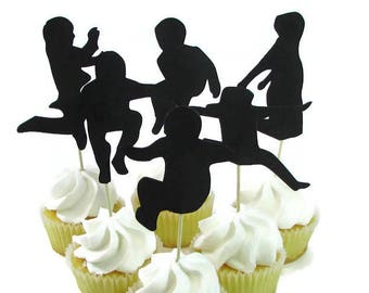 Jump Party Cupcake Toppers, Set of 12, Jumping Kids Cake Toppers, Bounce House Party, Trampoline Party, Girl Silhouette Jumping, Guy Jumping