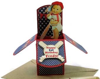 Baseball 1st Birthday Pop Up Card, Baseball Birthday Card, Baseball Party Invitations, Little Slugger, Baby Shower Card, Vintage Baseball