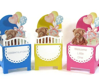 New Baby Pop Up Cards, Baby Shower Invitations, New Baby Boy, New Baby Girl, Gift Card Holder, 3d handmade cards, Gift for New Mom