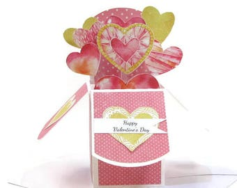 Valentines Day Pop Up Card Heart Bouquet, Valentine Gift For Him Her, Valentine's Day Decor, Love Pop Up, Magical Heart Pop Up Box 3D Card