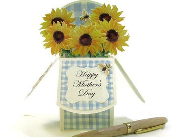 Pop Up Cards Mothers Day, Gift for Mom, Sunflower Bouquet, Gift Card Holder, Paper Flowers, 3D Handmade Card, Birthday Card, Thank You Card