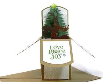 Christmas Pop Up Card, Christmas Holiday Card, Woodland Deer, Gift Card Holder, Winter Scene, For Husband, Mom, Dad, Teacher, Grandparents