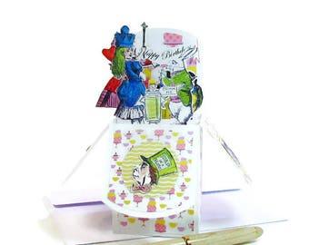 Alice in Wonderland Birthday Card, Mad Tea Party Card, Invitation UnBirthday, Happy Birthday, Custom Pop Up Card, Very Merry Unbirthday