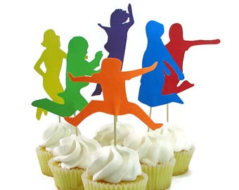 Trampoline Party Cake Topper, Jumping Kids Cake Topper, Gymnastics Party Decor, Jump Birthday Party Decorations, QueenBeeInspiratons