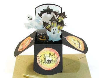 3D Happy Halloween Card in Box, Spooky Pop Up Card, Happy Halloween Party Invitation, Trick or Treat, Haunted House, Pumpkins, Gouly Ghosts