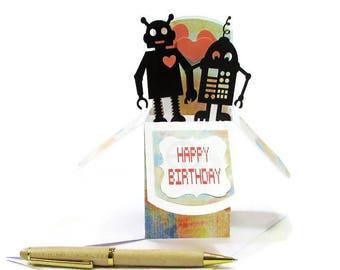 Robot Love Pop Up Card, Valentine's Day Card 3D Pop Up Card Robot Pop Up Card Engineer Gift Engineering Robots Card Robot Birthday Card