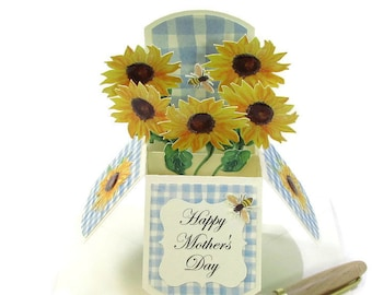 Mothers Day Card, Home is Where Mom is, Pop Up Card, Paper Flower Bouquet, Mom Birthday Card, Anniversary Card, Gift Card Holder, 3D cards
