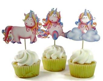 Magical Unicorn Cupcake Toppers, First Birthday Party Decorations, Unicorn Cake Picks, Unicorn Baby Shower Decoration, 1st Birthday
