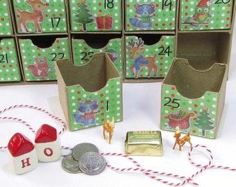 Woodland Christmas Advent Calendar, Countdown To Christmas, Kid's Advent Activity, Reusable Advent Calendar, Mini Boxes, Woodland Decor