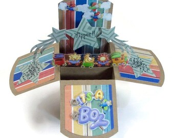 It's A Boy Pop Up Greeting Card - Handmade New Baby Boy Card - Baby Boy Congrats - Gift Card Holder