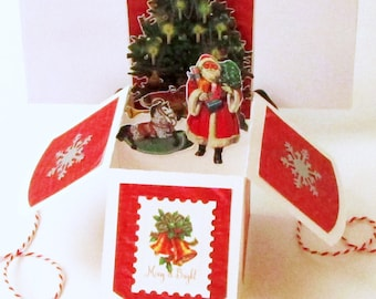 Pop Up Cards Christmas, Christmas Pop Up Card, 3D Card In Box, Vintage Victorian Christmas, Card for Grandparents, Card for Mom Dad