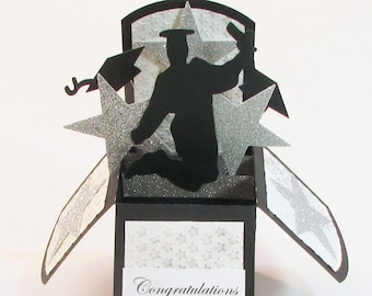 Graduation Card, Pop Up Cards, 3D Cards, Personalized Grad Gift, Gift Card Holder, Graduation Cap, High School, College
