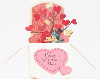 3D Valentines Day Card, Valentines Gift Idea, Valentines Day Decor, Love Pop Up Card Love Birds Gift Card Holder Happy Valentine's Day Card