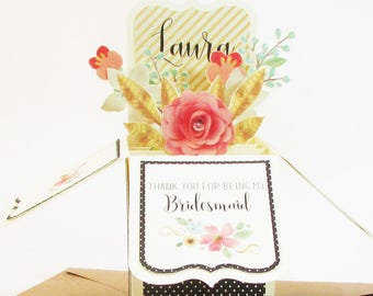Thank You For Being My Bridesmaid Pop Up Card, Maid of Honor, Personalized, Flower Girl, Attendant, Bridesmaid Proposal, Best Seller