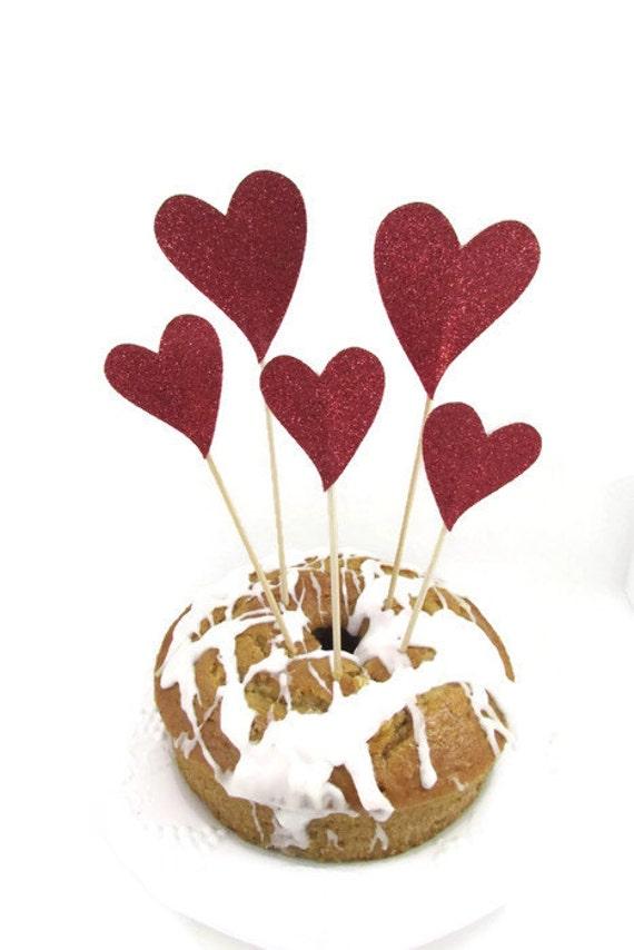 Glittered Hearts Cake Topper Wedding Valentines Day Birthday Etsy