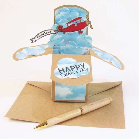 Birthday Card Pop Up Cards Airplane Birthday Card For Him Etsy