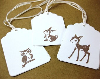 Baby Owl, Bunny and Deer Woodland Animals Gift Tags Set of 9 QueenBeeInspirations