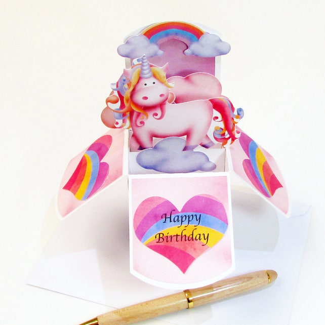 Magical Unicorn Birthday Pop Up Card Unicorn Party Invitation