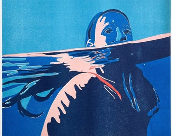 Limited edition Riso print of a swimmer (A3)