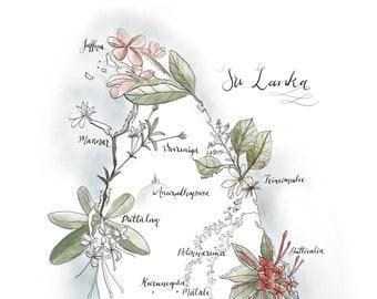 impression d'une carte du Sri Lanka avec illustrée de plantes et de la flore