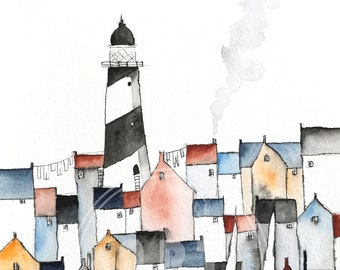 giclee A4 art print of an original harbor town ink drawing and watercolor painting with lighthouse