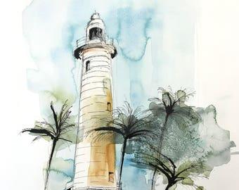 aquarelle originale - phare, Fort de Galle Sri Lanka