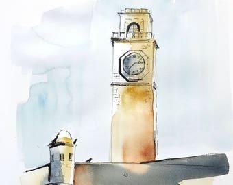 aquarelle originale - tour de l'horloge, Galle Fort Sri Lanka
