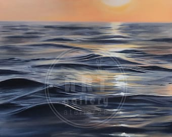 """giclee art print of a painting of a sunset over the ocean 8 x 8"""""""