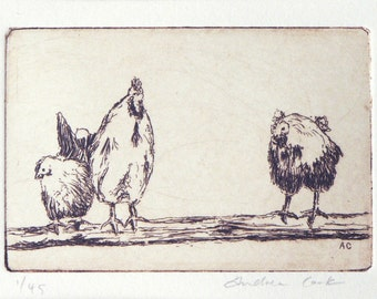 original etching of 3 chickens
