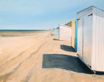 beach huts painting stretched canvas