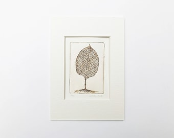 original etching of a tree