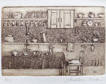 original etching of Grandma's kitchen