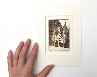 original etching of trees
