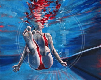 underwater swimmer giclee art print