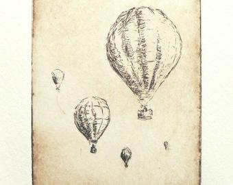 original etching of hot air balloons