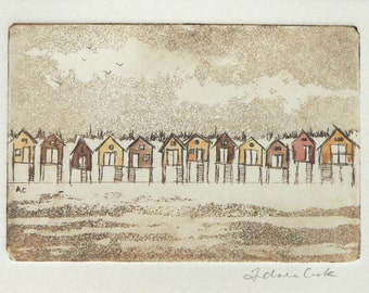 beach huts - original etching