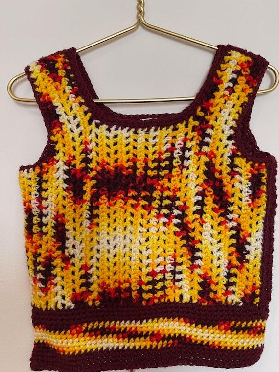 Handmade crochet sweater vest yellows vintage - image 1