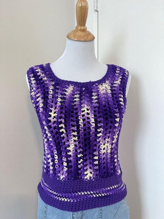 Vintage Crochet sweater vest violet handmade 1970… - image 3