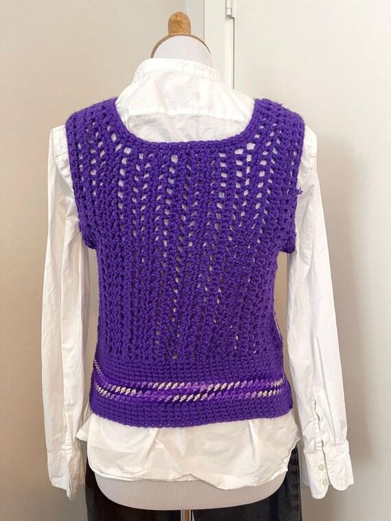 Vintage Crochet sweater vest violet handmade 1970… - image 2