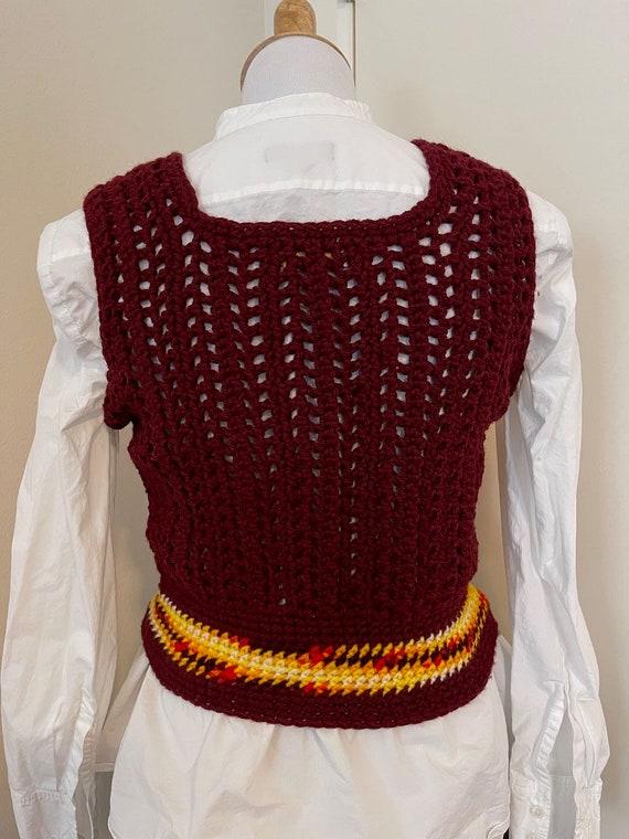 Handmade crochet sweater vest yellows vintage - image 6