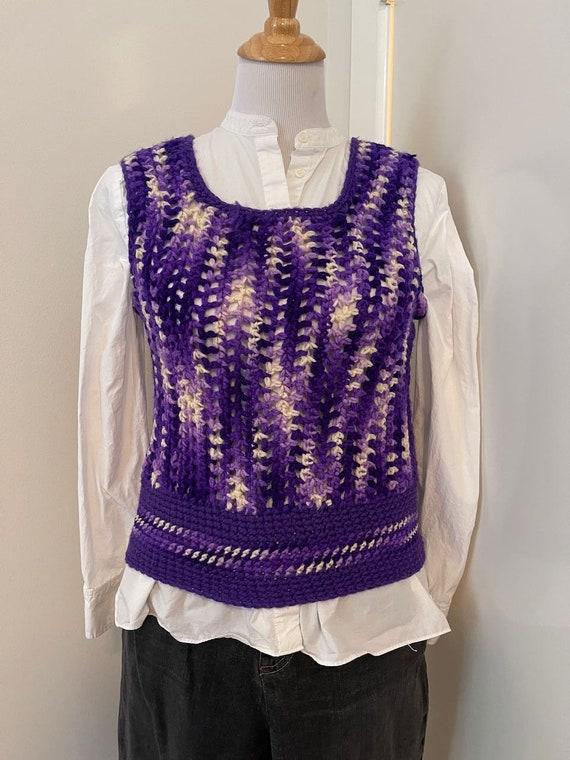 Vintage Crochet sweater vest violet handmade 1970… - image 6
