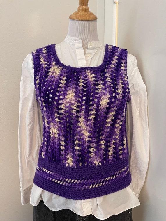 Vintage Crochet sweater vest violet handmade 1970… - image 1