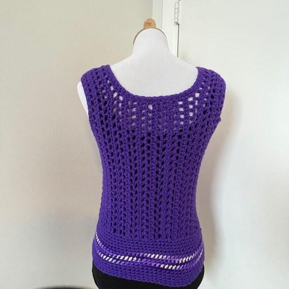 Vintage Crochet sweater vest violet handmade 1970… - image 4