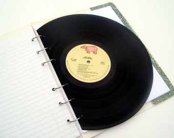 RESERVED FOR piercedaisy vintage the BEE GEES record album has been upcycled\/recycled into a notebook\/journal\/sketchbook with record divider by doti