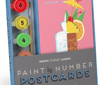 Paint by numbers kit - cocktails - Knock Knock paint by numbers cocktail kit - postcards