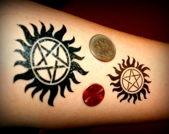 Supernatural Sam and Dean Winchester Temporary Tattoo Protection Symbol