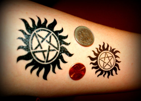 Supernatural Sam And Dean Winchester Temporary Tattoo Etsy